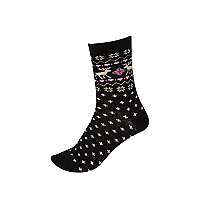 Black reindeer print ankle socks