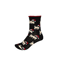 Black Christmas pug print ankle socks