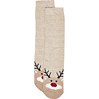 Beige Rudolph novelty ankle socks