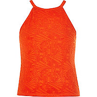 Red jacquard racer front top