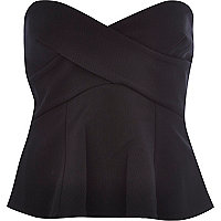Black bandeau wrap peplum top