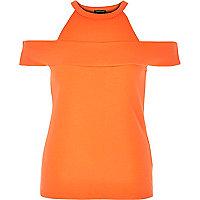 Orange strappy bardot top