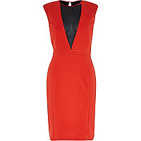 Red deep plunge V neck dress