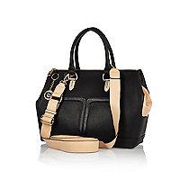 Black contrast gusset bowler bag