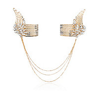 Gold tone crystal angel wings hair clips