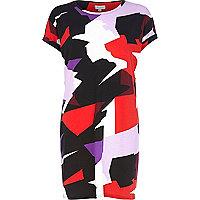Black abstract print tunic