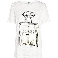 White burnout perfume foiled print t-shirt