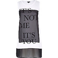 White it's not me it's you print tank top