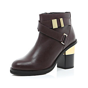 Dark red leather cross strap block heel boots