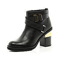 Black leather cross strap block heel boots
