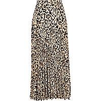 Beige leopard print maxi skirt