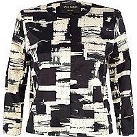 Black graphic print satin cropped jacket