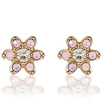 Pink diamante flower stud earrings