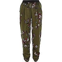 Khaki floral joggers