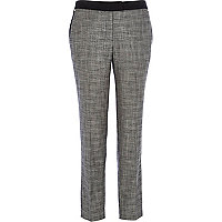 Grey cross hatch print straight trousers
