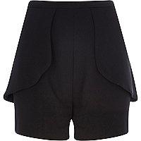 Black high waisted peplum shorts