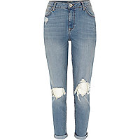 Mid wash ripped Ashley boyfriend jeans