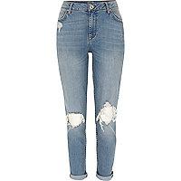 Mid wash ripped Ashley boyfriend jeans