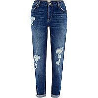 Dark wash ripped Ashley slim boyfriend jeans