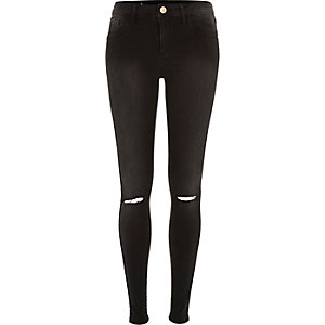 Washed black Amelie ripped superskinny jeans