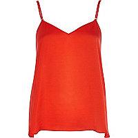 Red silky V neck cami top