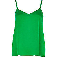 Bright green silky V neck cami top