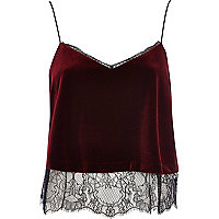 Red velvet lace cami top
