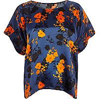Navy floral print top