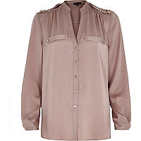 Beige utility blouse