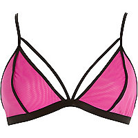 Pink sporty mesh bra top