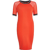 Red mesh sleeve sporty bodycon dress