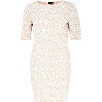 Light pink floral lace bodycon dress
