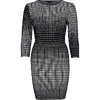 Black graphic print bodycon dress