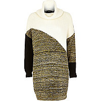 Cream patchwork cowl neck knitted dress