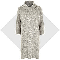 Grey fluffy cowl neck knitted dress