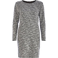 Grey marl boucle bodycon dress
