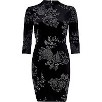 Black velvet glittery floral high neck dress