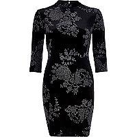 Black velvet glittery floral high neck dress