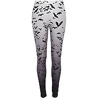 Grey bat print ombre leggings