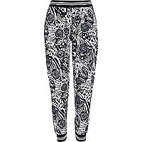 Black graphic print joggers