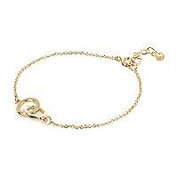 Gold tone circle linked bracelet