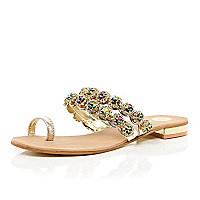 Gold gemstone embellished toe loop sandals