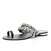 Black gemstone embellished toe loop sandals