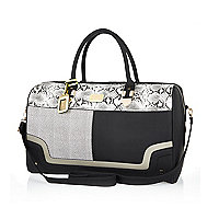 Black mixed print weekend bag