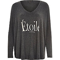 Grey soft jersey etoile print swing top