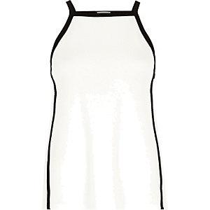 White color block square neck cami
