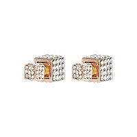 Gold tone diamante encrusted cube earrings