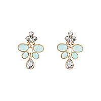 Gold tone diamante and stone dangle earrings