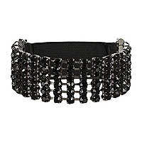 Black diamante stretch arm cuff
