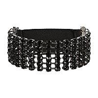 Black diamante stretch arm cuff